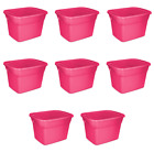 Large Storage Tote With Lid 18 Gallon Garage Heavy Duty Plastic Utility Set Of 8