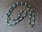 """VIintage Blue, Green, Pearl Long 34"""" Necklace"""