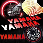 Reflective Logo Decal+Fire/Flame Rim Tape/Wheel Stripe Sticker for Yamaha Red