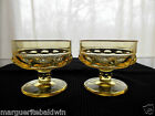 Indiana Colony Glass 2 Yellow Kings Crown Sherbets Footed Ice Cream Dessert Cups