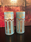 2 VINTAGE Mid Century Modern Atomic Glasses Gold Turquoise Flower Tumblers RARE