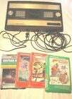 Mattel Intellivision Model 2609 Console bundle w cables, 4 games, Tested Works!