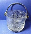 Small Vintage Glass Ice Bucket with  tear drop pattern