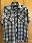 Rustler By Wrangler Silver Thread Peerl Snap Men's Shirt Size Large