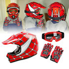 Youth Kids Red Spider Net Motocross Off Road Helmet Goggles Gloves DOT S M L XL