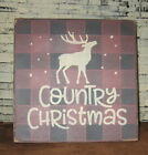 PRIMITIVE  COUNTRY  CHRISTMAS mini  sq   SIGN deer~winter