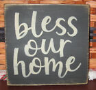 PRIMITIVE COUNTRY  BLESS OUR HOME MINI sq SIGN