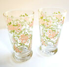 Vtg Drinking Barware Glass Pink Green Floral Scrollwork Heavy Base Libbey Qty 2