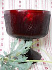 Vintage Hoosier Ruby Red Glass Compote Candy Dish Nut Bowl #4031 Bark Pattern