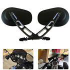 Black Edge Cut Hollow Rearview Mirrors For Harley Dyna Electra Glide Motorcycle