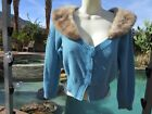 Vintage women's sweater blue S/M attached vintage 60s mink collar bead buttons