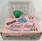 Anchor Glass Serva Snack Set 4 Clear Trays w/4 Green Cups Original Box