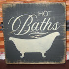 PRIMITIVE  COUNTRY HOT BATHS tub  mini  sq   SIGN