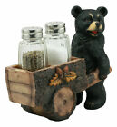 Black Bear Pushing Cart Salt And Pepper Shakers Holder Set Creative Kitchen