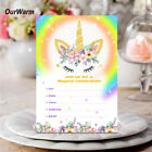 10PCS Girls Unicorn Invitations Card with Envelopes Kids Birthday Party Supplies