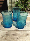 (3) VINTAGE ANCHOR HOCKING TURQUOISE AQUA AZURE BLUE RAIN FLOWER JUICE TUMBLERS