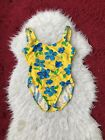 Women's Vintage Catalina One Piece Swimshit Yellow Floral Print Ribbed Large