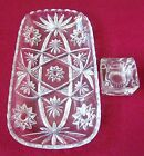 VINTAGE CRYSTAL BREAD TRAY STAR OF DAVID PATTERN AND MASTER SALT DIP