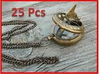 Lots of 25 Necklace Antiqued Brass Sundial Compass 47mm-Nautical game of thrones