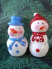 Mr  Mrs Snowman Salt and Pepper Shakers Blue Red Scarf Hat Carrot Nose EUC