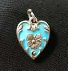 Vintage Sterling Silver and Enamel Floral Miniature Puffy Heart Charm