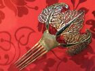 Signed Antique Chinese Vintage Silver Filigree Hair Pin Comb   Big Ebony