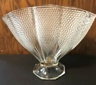 VINTAGE L.E. SMITH PRESSED CLEAR GLASS HOBNAIL FAN SHAPED EXCELLENT CONDITION