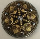 Rolled Steel Floral Cut Steel Large Antique Metal Button Old Ornate