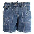 New Womens Summer Denim Shorts Dark Blue Pokets Vintage Loose Fit Jeans UK8 Only