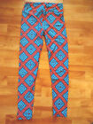 LuLaRoe TC One Size Buttery Soft Aztec Leggings Dark Coral Blue Tones NWOT