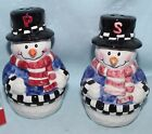 Holiday salt and pepper shaker set China snowmen ceramic