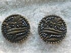 (2) Stunning Antique Victorian Round Buttons Floral and Leaf Motif Cut Steel