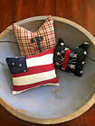 Primitive   Old Home Cats and Flag Bowl Fillers Set of 3  Patriotic
