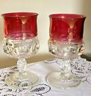 2 VTG INDIANA GLASS KINGS CROWN THUMBPRINT RUBY RED 6oz WATER WINE GOBLETS