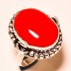 """Red Coral Oval Gemstone .925 Sterling Silver Ring """"7.75"""""""