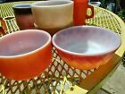 4 Vtg Fire King Bowl  1Kimberly Diamond Cereal Red Orange 1 Orange 2 Brown