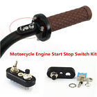 Universal Motorcycle Handlebar Engine Start Stop Kill Lever Switch Button Black