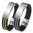 EP_ HK- Men's Punk Simple Stainless Steel Silicone Bangle Wristband Cuff Bracele