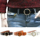 Women Gold Round Buckle Belt Vintage Faux Leather Jeans Adjustable Waistband