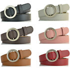 Women Ladies Vintage Buckle Belt Faux Leather Jeans Waistband Dcor Solid Color