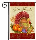 Give Thanks Welcome Flag Thanksgiving Turkey Garden Fall 12 x 18 Autumn Guests