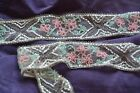 antique beaded trim, pink flowers satin glass, 1920s
