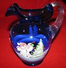 FENTON ART GLASS PITCHER CHRISTMAS SNOWMAN SCENE SIGNED NUMBERED RETIRED