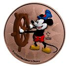 """2017 NIUE COLORIZED/ROSE GOLD GILDED """"DISNEY MICKEY MOUSE STEAMBOAT WILLIE"""" BU"""