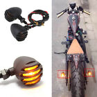 Black Motorcycle Brake Turn Signals Bullet Blinker Indicator Lights Amber Lamps