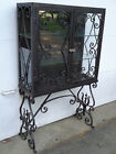 CRAFTS CURIO CABINET W/GREAT BLACK PATINA