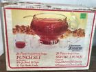 VINTAGE Crystal Punch Bowl Glassware by Jeanette 26 piece Set