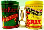 SalT  PEppER ShaKerS Painted Tin Plated Steel Shakers Large HoleS NOSTALGIC 713