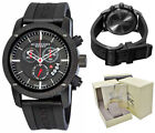 Burberry Watch Men Black Rubber BU7701 Sport Swiss Chronograph Stainless Steel