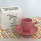 Fiestaware Rose Stick Handle Demi Cup and Saucer Fiesta Retired Pink Demitasse